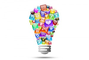 Lightbulb showing mobile app development idea.