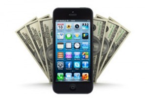 Picture of a phone in front of dollar bills.
