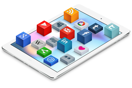 Graphic showcasing a number of mobile applications