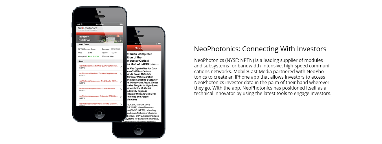 NeoPhotonics investor relations app developed by MobileCast Media.