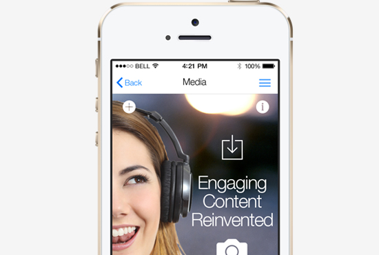 Picture of engaging content presented via mobile app.